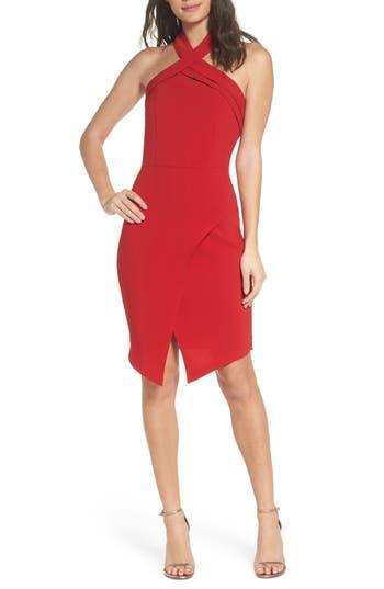 Adelyn Rae Halter Asymmetrical Sheath Dress, Red