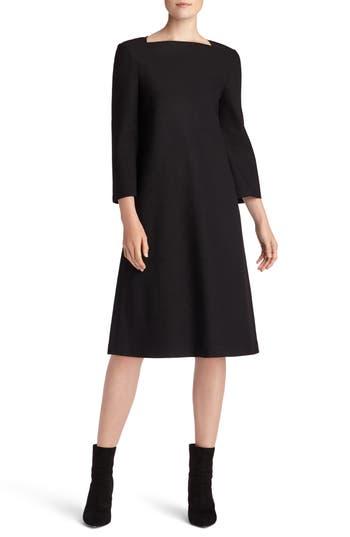 Lafayette 148 New York Fit & Flare Punto Milano Dress, Black