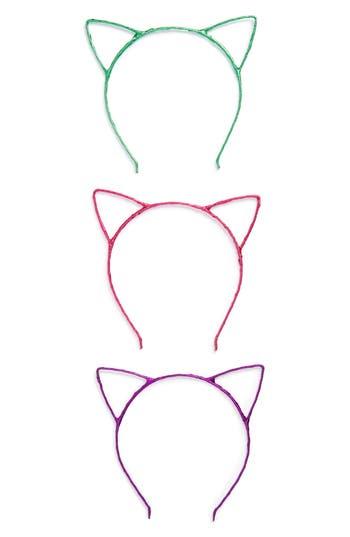 Cara Set Of 3 Cat Ear Headbands, Size One Size - Metallic