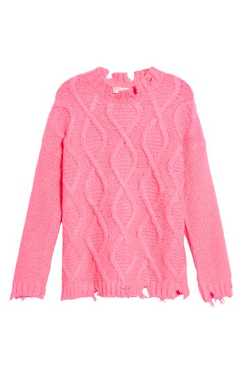 Women's Rdi Destroyed Cable Knit Sweater, Size X-Small - Pink