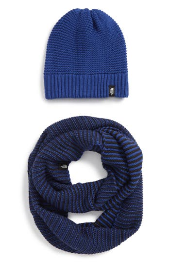 Women's The North Face Purrl Stitch Beanie & Infinity Scarf Set - Blue at NORDSTROM.com