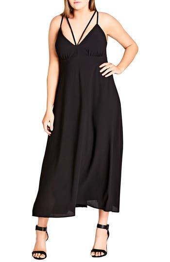 plus size women's city chic sexy strap maxi dress, size xx-large - black