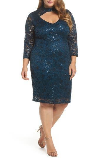 Plus Size Marina Choker Neck Lace Sheath Dress, Green