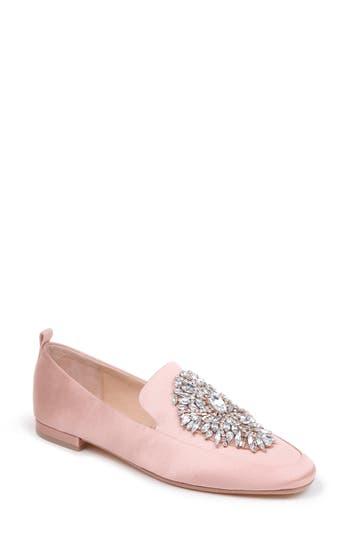 Women's Badgley Mischka Salma Crystal Embellished Loafer, Size 5 M - Pink