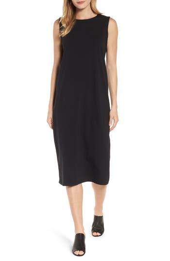 Eileen Fisher Stretch Organic Cotton Midi Dress, Black