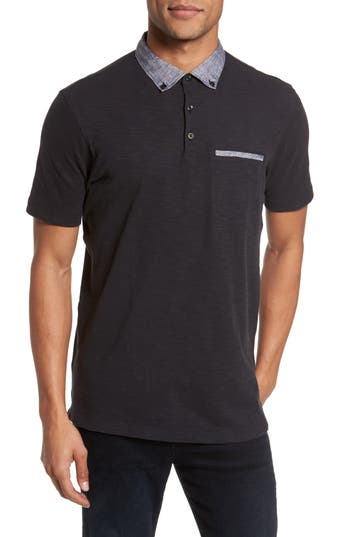 Men's Good Man Brand Slub Jersey Cotton Polo Shirt, Size Small - Black