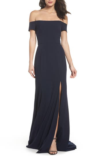 Amsale Off The Shoulder Crepe Gown, Blue