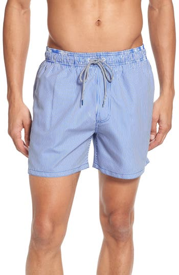 Ted Baker London One-Way Stripe Swim Trunks, Blue