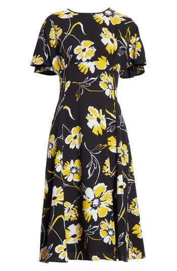 Michael Kors Floral Print Silk Flirt Dress, Black