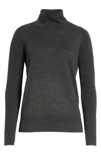 Lafayette 148 New York Merino Wool Modern Turtleneck Sweater, Grey