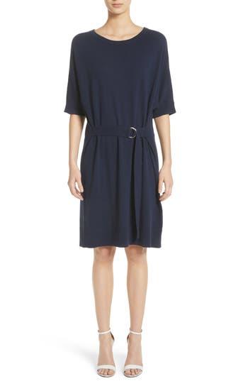 Michael Kors Belted Cashmere Blend Dress Blue