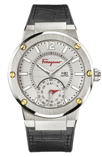 Salvatore Ferragamo 'F-80 Motion' Leather Strap Smart Watch, 44mm
