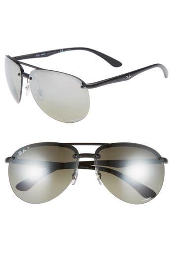 Ray-Ban 65Mm Chromance Polarized Aviator Sunglasses - Matte Black