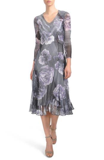 Komarov Print Chiffon A-Line Midi Dress, Blue