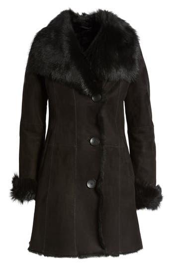 Hiso Genuine Shearling Coat, Black