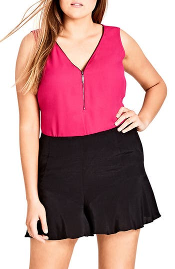 Plus Size City Chic Zip Front Top, Pink