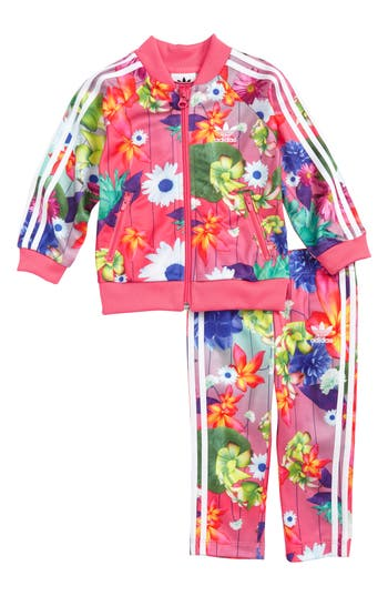 Infant Girl's Adidas Floral Print Tracksuit