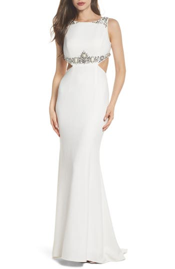 Adrianna Papell Embellished Crepe Trumpet Gown, Ivory