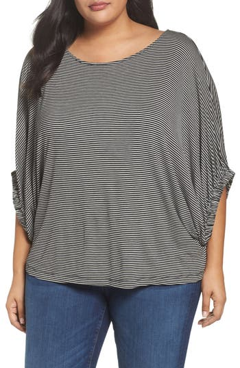 Women's Soprano Stripe Dolman Sleeve Top, Size 1X/2X - Black