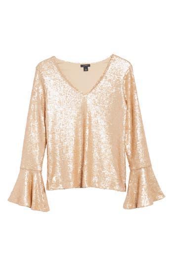 Women's Halogen Flare Sleeve Sequin Top, Size X-Small - Metallic