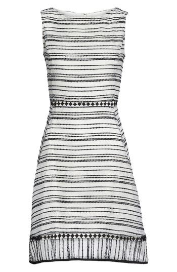 Taylor Dresses Stripe Fit & Flare Dress, Ivory