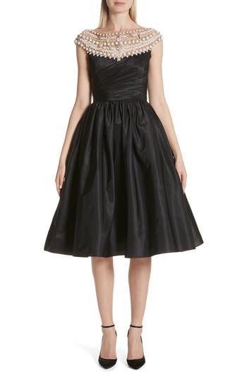 Marchesa Cap Sleeve Silk Taffeta Fit & Flare Cocktail Dress