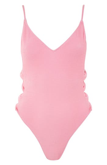 Topshop Twist Side Swimsuit, US (fits like 0) - Pink