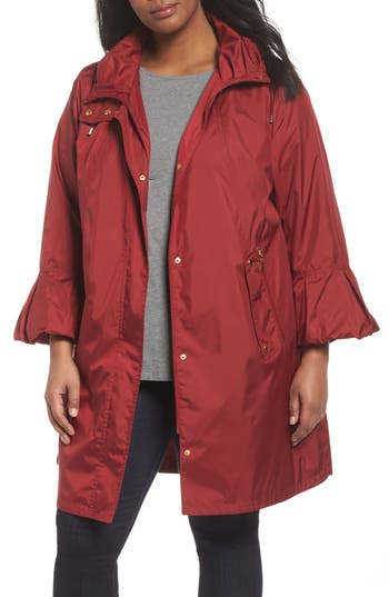 Plus Size Gallery Flare Sleeve Packable Swing Jacket, Red