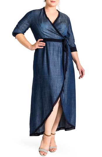 Plus Size Women's Standards & Practices Elle Wrap Maxi Dress, Size 1X - Blue