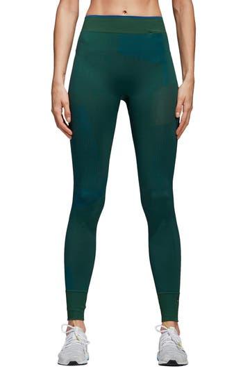 Adidas By Stella Mccartney Training Seamless Block Tights, Green