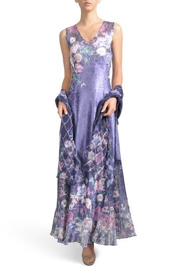 Komarov Lace-Up Back Maxi Dress With Wrap, Blue