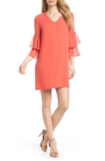 Women's Cece Carmen Tiered Ruffle Sleeve Shift Dress