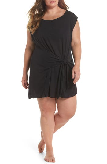 Plus Size Becca Etc. Breezy Basic Cover-Up Dress, Black