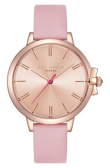 Ted Baker London Leather Strap Watch,