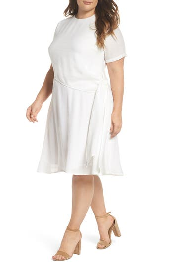 plus size women's lost ink knot waist skater dress