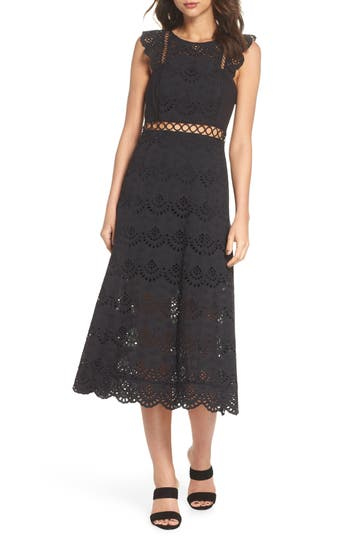 Sam Edelman Eyelet Midi Dress, Black