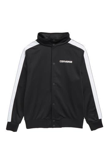 Boys Converse Heritage Snap Front Bomber Jacket Size S (8)  Black