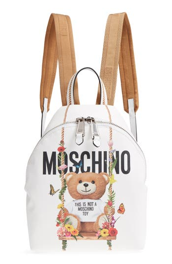 Moschino Teddy Bear Print Coated Canvas Backpack - White