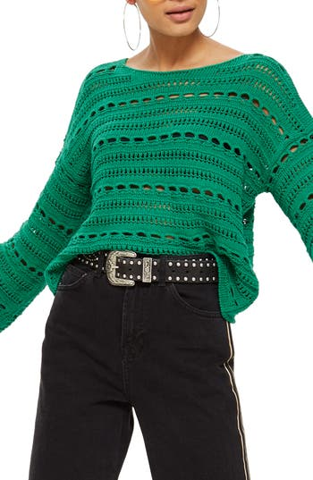 Women's Topshop Open Stitch Sweater, Size 2 US (fits like 0) - Green