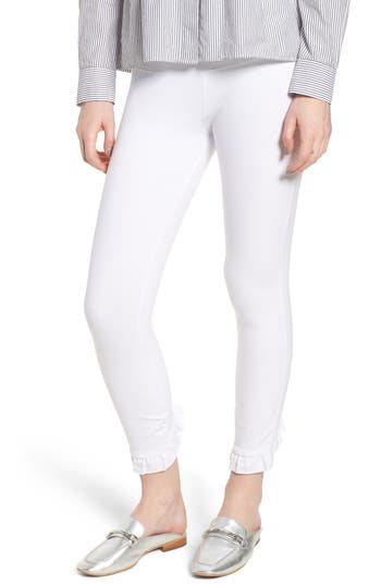 Lysse Ruffle Crop Leggings, White