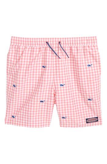 Boys Vineyard Vines Embroidered Micro Gingham Check Swim Trunks Size M  1214  Blue