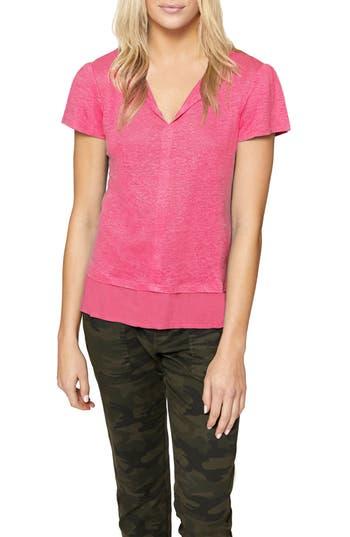 Petite Women's Sanctuary Uptown Tiered Hem Linen Tee, Size X-Small P - Pink