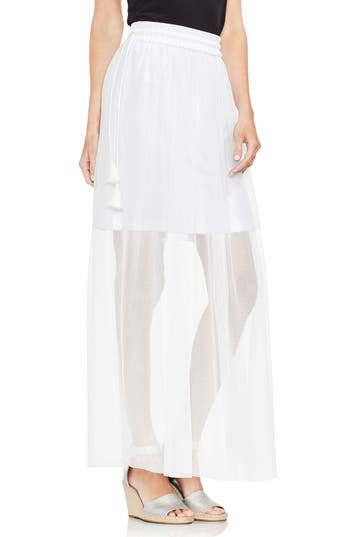 Vince Camuto Side Tie Mesh Overlay Maxi Skirt, White