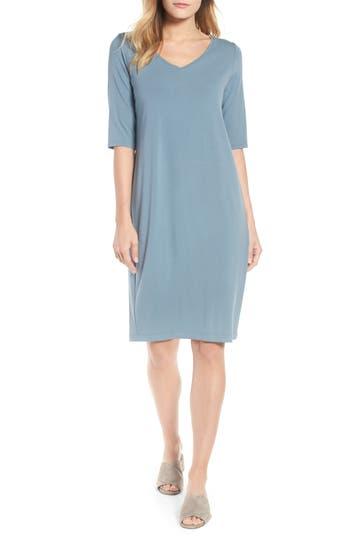 Eileen Fisher Stretch Jersey Shift Dress, Blue