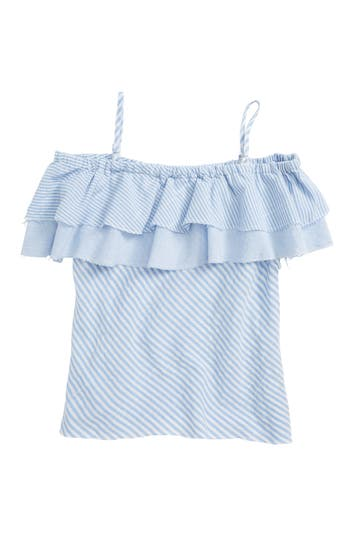 Girls Tractr Striped Ruffle Top