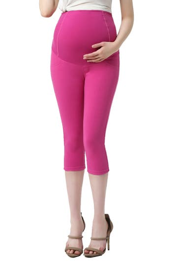 Kimi And Kai Melody Capri Denim Maternity Leggings, Pink