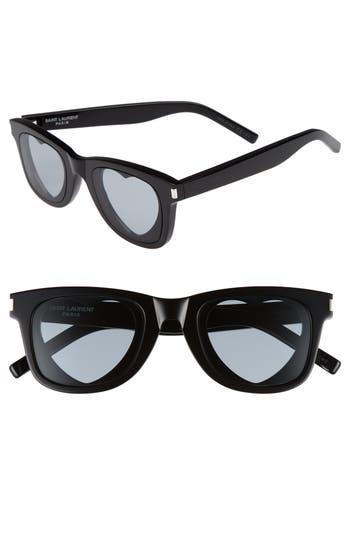 Saint Laurent 50Mm Heart Sunglasses - Black
