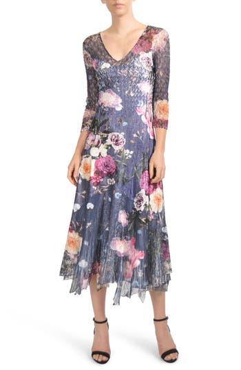 Komarov Foral Print Lace Inset Dress, Blue