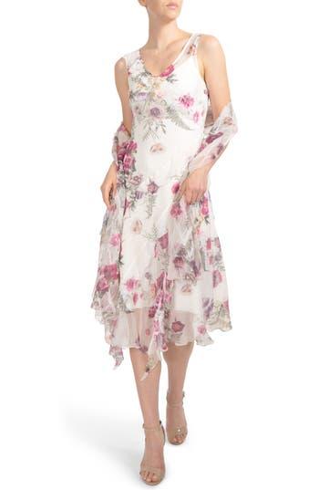 Komarov Floral Print Ruffle Midi Dress & Shawl, Ivory
