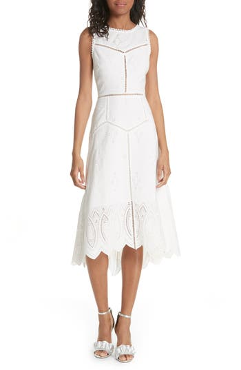 Joie Halone High/low Eyelet Dress, White